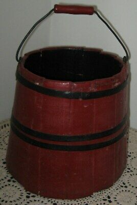 Antique Wooden Staved Lg Sap Carrying Bucket In Old Red Paint, Bail Handle