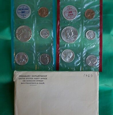 1963 US Mint Annual Uncirculated P and D Silver 10 Coin with Franklin 50c + Env