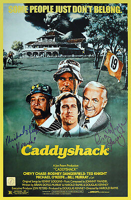 Michael O'Keefe & Cindy Morgan Autographed Caddyshack 11x17 Poster ASI Proof