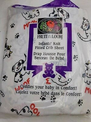 Infants Knit Fitted Crib Sheet Fruit of the Loom Cotton Knit Animal Print