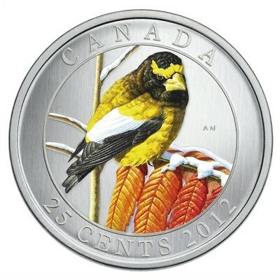 2012 Canada 25-cent Birds of Canada - Evening Grosbeak Coloured Coin