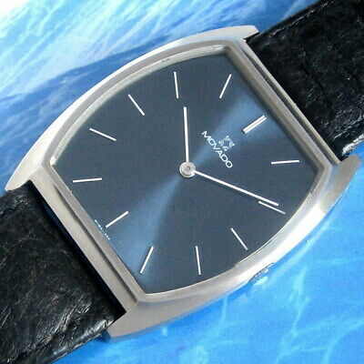 Mens LARGE 1977 Movado ZENITH MINT Blue Dial S/S 2320 Caliber Swiss Watch A+