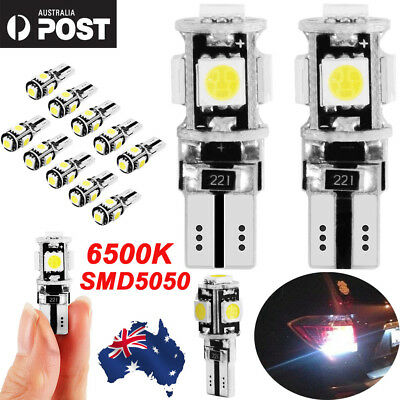 10PCS T10 Wedge 5SMD Parker Number Plate LED Bulbs W5W 194 168 131 WHITE AU