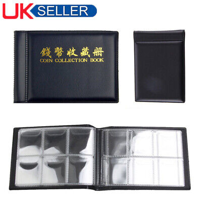 60 Holder Coin Book Collection Holders Penny Money Album 50P and 2 Pound Black