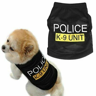 Pet Dog Black Police K-9 Unit Vest T-Shirt Puppy Cat Clothes Apparel Costume