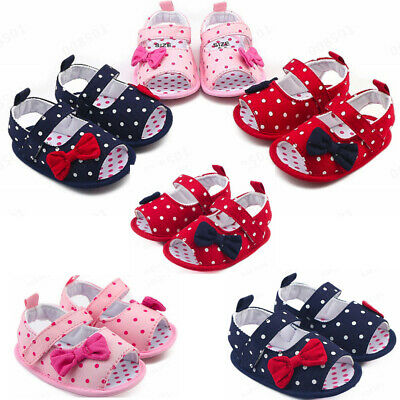 Newborn Baby Girls Crib Prewalker Dot Bowknot Soft Sole Anti-slip Sneakers Shoes