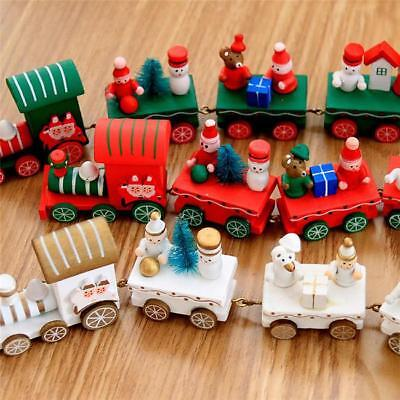 4 Piece Wood Mini Train Ornament Christmas Xmas New Year Home Decor BS