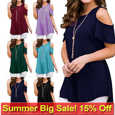 Plus Size Womens Cold Shoulder T Shirt Ladies Short Sleeve Summer Blouse Tops UK