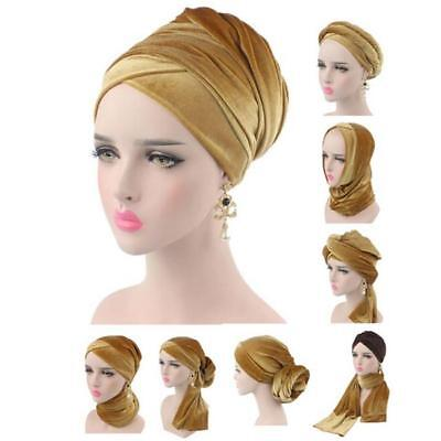 Women Velvet Head Wrap Lace Turban Hijab Cap Long Tube Head Scarf BS