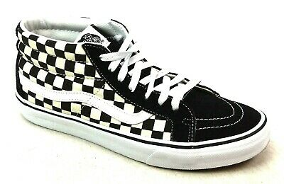 556315417fb377 Mens Vans Sk8 Mid Reissue Black Checkerboard Suede Canvas Skater Trainers  Size 9