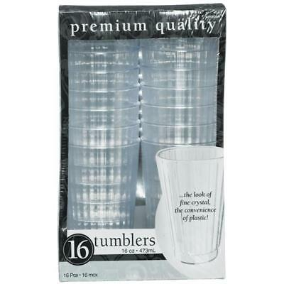 Pack of 16 Clear Plastic Tumblers - Picnic's Festival Party Tableware 35100786