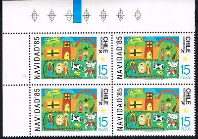 Chile 1985 Stamp # 1159 Mnh Block Of Four Christmas 85' Corner Of Sheet
