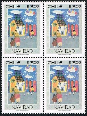 Chile 1980 Stamp # 984 Mnh Block Of Four Christmas Child Painting