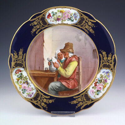 Antique Sevres French Porcelain - Hand Painted Rustic Couple Plate - Lovely!
