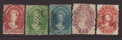 Tasmania 1863-1871 Set of QV Chalon Heads with Perforations