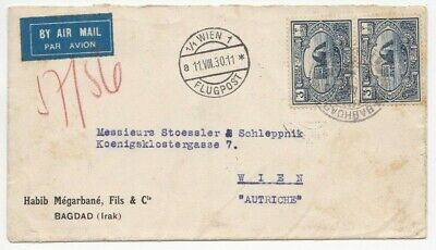1930 Iraq Air Mail Cover Posted To Austria Various Cancels And Postmarks 2#21