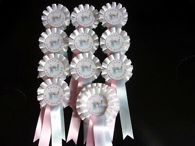 "Personalised with /""Relative to be/"" Baby Shower Rosettes Sets with Teddy design"
