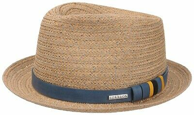 Stetson Munster Toyo Summer Hat Trilby Straw Hat Squeezable Blue 1238514 New