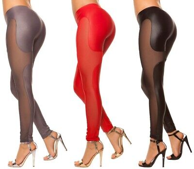 sexy Leggings mit mesh-Look * Gr. S-XL * Leggins Clubwear Hose Damen