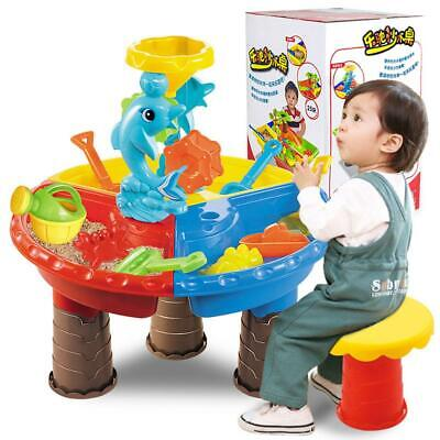 Kid's Sand Pit Set Beach Sandpit Table Water Outdoor Garden Play Spade Tool Toy