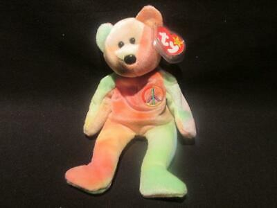 Peace Bear TY 1996 Beanie Baby Original Owner With Tags