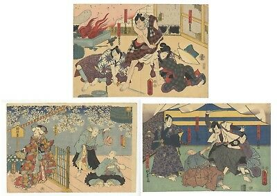 Original Japanese Woodblock Print, Ukiyo-e, Set of 3, Traditional, Antique, Play