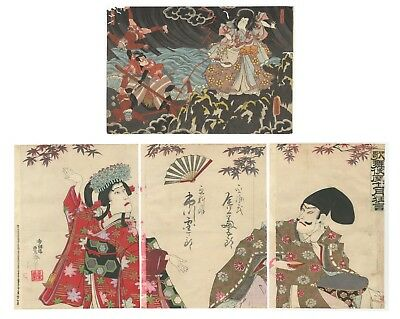 Original Japanese Woodblock Print, Ukiyo-e, Set of 2, Toyokuni III, Maple Leaves