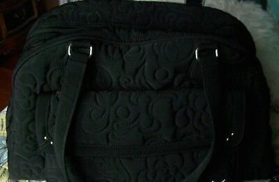 Vera Bradley Black Large Quilted Baby Diaper Bag WITH Changing Pad LOTS  Storage f70d9b9cab855