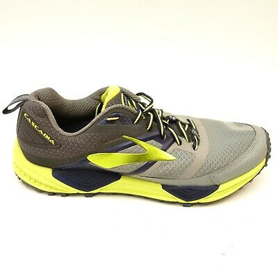 5619b8774aee4 Brooks Mens Cascadia 12 GTX Gray Yellow Waterproof Running Athletic Shoes  Sz 11