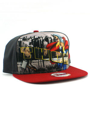 d919ffe44f6 New Era Thor 9fifty A-Frame Snapback Hat Adjustable Marvel Comics Grey Red  NWT
