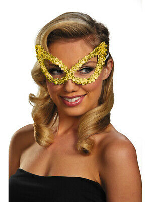 Adult Gold Masquerade Ball Costume Accessory Elegant Large Sequin Mask
