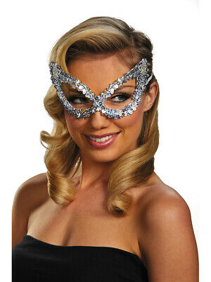 Adult Silver Masquerade Ball Costume Accessory Elegant Large Sequin Mask