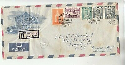 Thailand Registered Airmail Cover w/ creases, stains