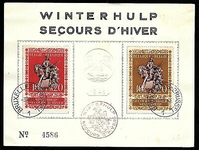Belgium Winter Relief Charity Semi-Postal Stamps on Embossed Card, Cover 1943