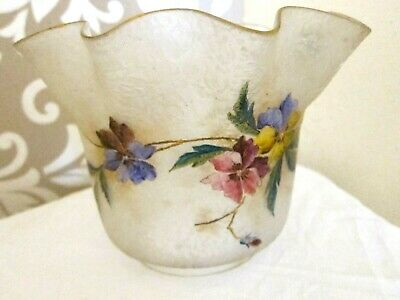 Antique French Hand Painted Oil Lamp Shade