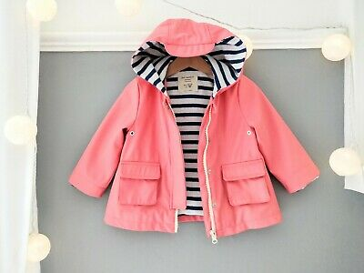 ZARA Baby Girl 12-18 Rain Coat Anorak Jacket Coral Pastel Pink Retro Nautical