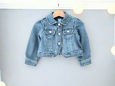 GAP Baby Girl 18-24 Retro Blue Denim Jacket Nautical Top Vintage Cropped Toddler