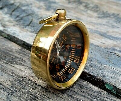 Antique Brass Compass Collectible Polish Brass Open Face Pocket Compass On Sale