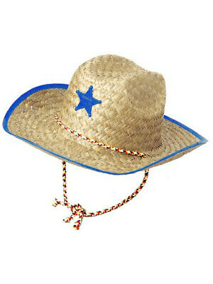 a6778463f6663 Boys Kids Straw Cowboy Hat With Blue Star Sheriff Badge