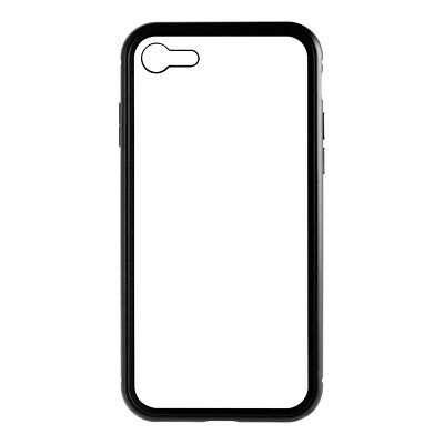 Magnetic Adsorption Metal Frame Tempered Glass Hard Cover Case Black For iPhone