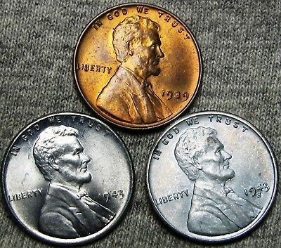 1939 1943 1943-S Steel Lincoln Cent Wheat Penny---- Gem BU Lot ---- #P510