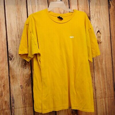 80adb2fe New PacSun x OBEY Mens Yellow Gold Classic Logo Graphic Tee T-Shirt Size  Large