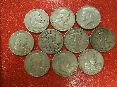 10 coins, $5 face value 90% Silver US Half Dollars- all decent coins- #1