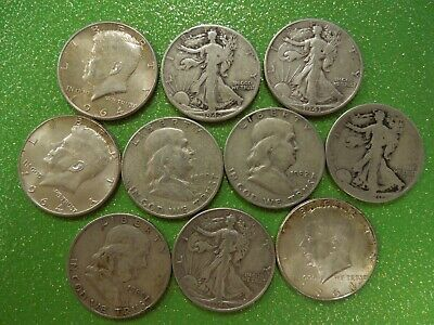 10 coins, $5 face value 90% Silver US Half Dollars- all decent coins- #3