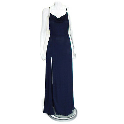 Reformation New Terraza Dark Blue Maxi Dress High Side Slit
