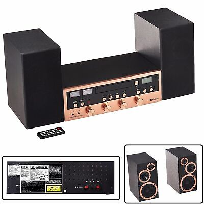 CD Bluetooth Stereo System Home Speaker CD Player FM Radio Aux-In Headphone Rose