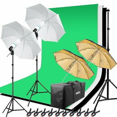 Lumiere Eclairage Studio Photo Green Screen Kit 125W Parapluie Lampe