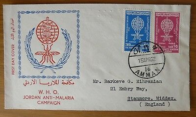 Jordan 1962 Malaria Campaign fine FDC to UK, unsealed