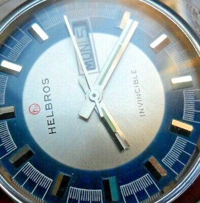 Very Clean Vintage 1970's Helbros Invincible Day Date Mechanical Watch Runs