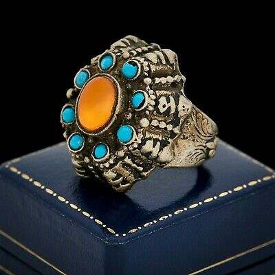 Antique Vintage Art Deco Sterling Silver Turkish Carnelian Turquoise Ring Sz 8